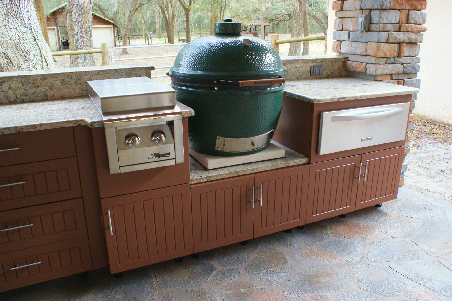 outdoor kitchen with green egg gallery backyard specialist 7246