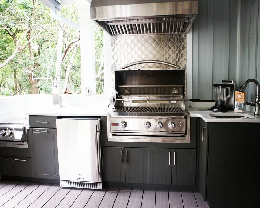 Blaze appliances with brown HDPE cabinets